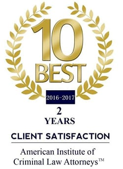 10 best 2016-2017 2 years client satisfaction american institute of criminal law attorneys TM